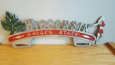 VTG 1950s WISCONSIN BADGERS STATE CAR LICENSE PLATE METAL HOLDER SEXY GIRL RARE