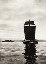1924 Vintage SCANDINAVIA Photo Art Norway Trondheim Fjord Sailboat Sea Landscape