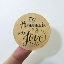 """60 x Kraft Paper """"Homemade with Love"""" Shipping Labels Sticker #R4023"""