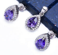 2.50ct Pear Amethyst & CZ .925 Sterling Silver Earring & Pendant Jewelry set