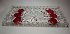 Vintage Rectangular Lead Crystal Heavy Tray with Plums and Frosted Pears