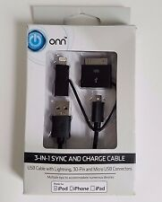 Onn 3-in-1 Sync and Charge Cable for Apple Lightning, 30-Pin & Micro USB Devices