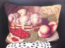 Vintage Decorative Pillow Green Velvet Needlepoint Fruit Reds Greens Browns Gold