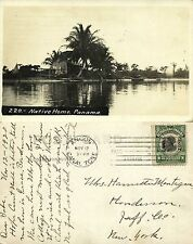 panama, CANAL ZONE, Ancon, Native Home, Boats and Fishing Nets (1920) RPPC Stamp