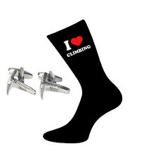 I Love Climbing Socks & Climbers Ice Axe Cufflinks Gift Set