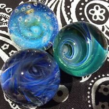 Set of 3 22-23 MM Hand Made Glass Implosion Vortex Wave Art Marbles