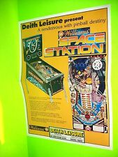 Williams SPACE STATION Original 1987 Pinball Machine Flyer Deith Leisure UK Rare