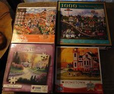 Lot of 4 Assorted AMERICANA 1000 pc Jig Saw Puzzles - Heronim +