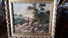 pittura napoletana del  900 olio su compensato m.24x29 passeggiata in campagna
