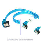 """SATA 3 III 3.0 DATA HDD SSD Cable 60CM / 24"""" - UV Blue with both ends 90° Latch"""
