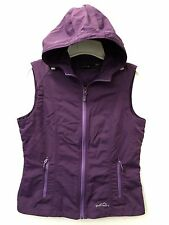 Womens Purple Vest w/Attached Hood EDDIE BAUER Travex Zip Front Sz Small