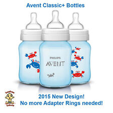 Avent Classic Plus Bottle, NEW 2015 DESIGN! 9 oz 3 pack Crab