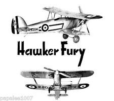 """Model Airplane Plans (UC): HAWKER FURY 1/18 Scale 20""""ws for 1-1.5cc Engine"""