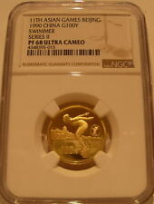 China 1990 Gold 100 Yuan NGC PF-68UC 11th Asian Games Beijing - Swimmer
