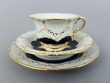 Meissen 3-teiliges Mokkagedeck, B-Form, kobaltblau und Gold