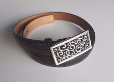 Brighton Moc Croc Black Leather Belt With Large Ornate Buckle Size S 28