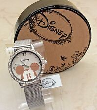 DISNEY MICKEY MOUSE SILVER STAINLESS STEEL GEMMED WATCH ON MESH STYLE BAND NEW!
