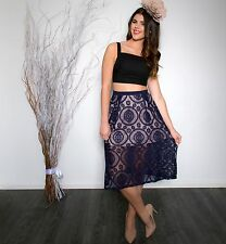 NEW - Ladies casual party office fashion lace skirt - navy/beige size XS/6
