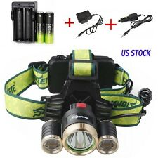 20000LM CREE XML 3xT6 Rechargeable LED Headlamp+AC/Dual Charger+18650 Power USA