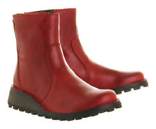 FLY LONDON 'MASI' RED LEATHER WEDGE ZIP UP CHELSEA ANKLE BOOTS UK 3 /36 RRP £120