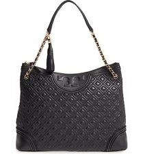 New Tory Burch Fleming Tote Bag Black