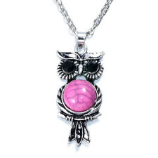 NEW Vintage Crystal Owl Pendant Necklace Long Chain Rhinestone Jewelry  AA-532