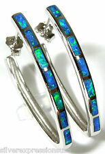 Long Unique Hoop Earrings with Blue Fire Opal Inlay Solid 925 Sterling Silver
