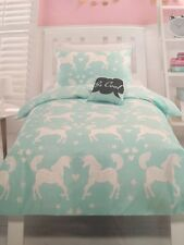 SPARKLES UNICORN AQUA BLUE GREEN SINGLE bed QUILT DOONA DUVET COVER SET NEW