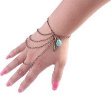 Mode handlet Blatt und Türkis stein bettelarmband mit ring Sklavenkette UK