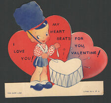 Vintage 1950 Valentines Card Drummer Boy Heart Shaped Drum My HEART BEATS ForYou