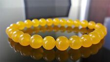 """Genuine Yellow Jade Bead Bracelet for Men (On Stretch) 8mm AAA - 8"""" inch"""