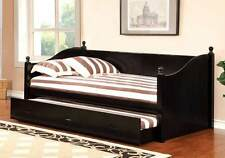 Walcott Cottage Transitional Twin Daybed Day Bed w/ Trundle Solid Wood in Black