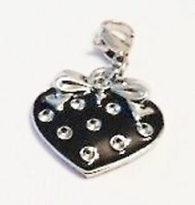 BLACK & SILVER STRAWBERRY WITH SILVER BOWAND RHINESTONES  CLIP ON CHARM - NEW