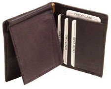 Black Genuine Leather MONEY CLIP CARD ID 2in1 detachable Bifold Wallet SLIM New
