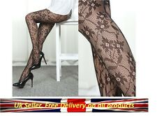 Sexy Black Patterned Tights Pantyhose Hosiery Floral Lingerie Size 8 10 12