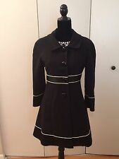 bebe Black with White Piping Trench Coat Size M