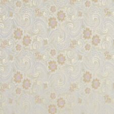 E390 Gold Pink And White Paisley Floral Brocade Upholstery Fabric By The Yard