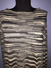 MISSONI Sweater Cream Black Long Sleeve Sweater; Made in Italy Large-XL