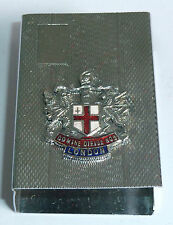 A VINTAGE 1940s CHROME PLATED MATCH BOX HOLDER WITH LONDON ENAMEL PLAQUE