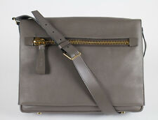 NWT TOM FORD Medium Slate Gray Leather Messenger Shoulder Bag With Strap $2695