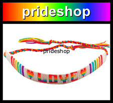 White With Rainbow LOVE Cotton Flat Friendship Bracelet Lesbian Gay Pride #1446