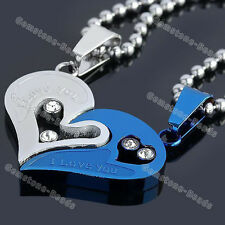 Blue Men Women Couple Lover Necklace I Love You Heart Pendant Stainless Steel