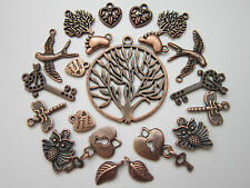 20 pcs Tibetan Style Pendants charms mix antique red copper hearts trees owls