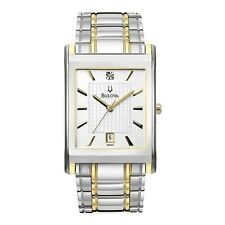 New Men's Bulova 98D005 Silver Dial Two Tone Stainless Steel Bracelet Watch