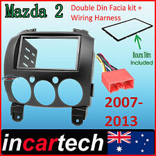 Mazda 2 07-13 FACIA KIT fascia panel dash trim double-DIN + Wiring Harness Aus