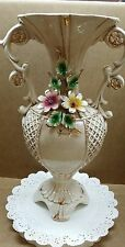 Capodimonte large vase with two handles/flowers