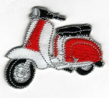 Iron On/ Sew On Embroidered Patch Badge Italian Scooter Lam Bike Red & White