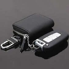Mens Womens Leather Car Key Chain Ring Case Holder Bag Zipper Wallet Purse Black