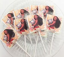 12 MOANA PRINCESS MOANA LOLLIPOPS CANDY FOR PARTY FAVORS MADE IN U.S.A