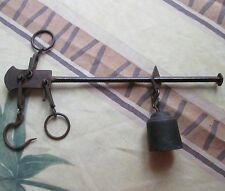 ANTIQUE 19thC FRENCH RATINAUD FORGED IRON STEELYARD BALANCE WEIGHT SCALE w HOOKS